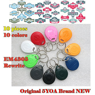 10pcs EM4305 Copy Rewritable Writable Rewrite EM ID Keyfobs RFID Tag Key Ring
