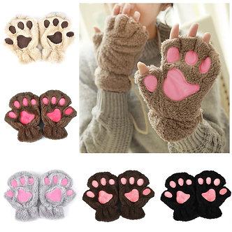 2019 Winter Lovely Women Bear Cat Claw Paw Mitten Plush Gloves Short Finger Half