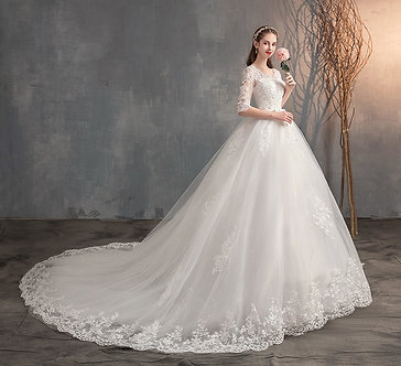 2021 New v Neck Half Sleeve Wedding Dresses Long Lace Embroidery Train Bridal