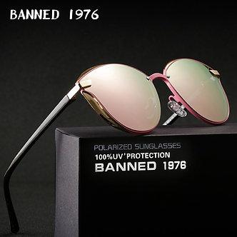 BANNED 1976 Luxury Women Sunglasses Fashion Round Ladies Vintage Retro Brand