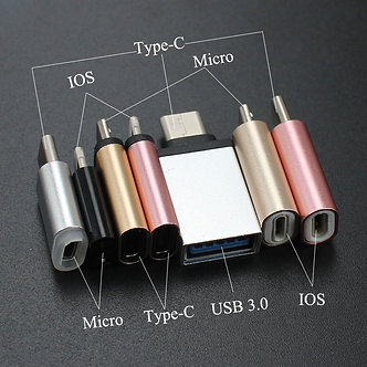 3pcs for iPhone Type-C Adapter to Micro USB / USB 3.0 Type C for iPhone