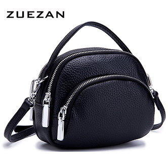 2 Compartments , Daily Use Small Messenger Bag, Women Genuine Leather Shoulder