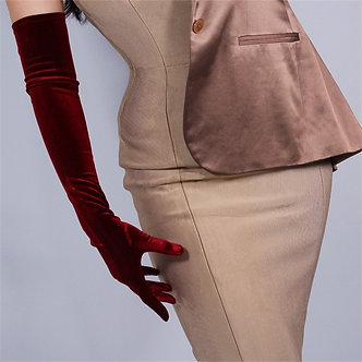 60cm Velour Gloves Extra Long Section Wine Red Over Elbow Female High Elastic