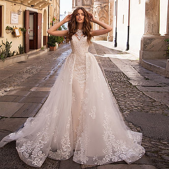Appliques Lace Mermaid Wedding Dresses With Beading Crystal Removable Train