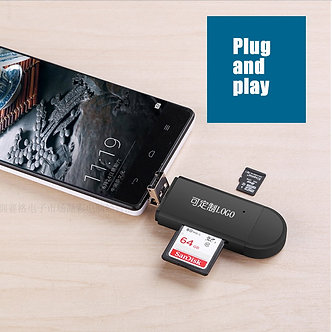 3 in 1 Type C & Micro USB & USB OTG Card Reader  High-Speed USB 2.0 Universal