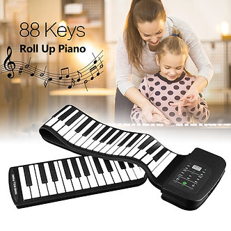 88 Keys Silicone Flexible Roll Up Piano Keyboard Hand-Rolling Piano Foldable