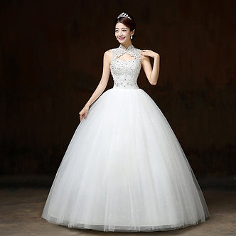 Ball Gown Wedding Dresses Appliques Sleeveless High Neck Lace Up Beaded Bride