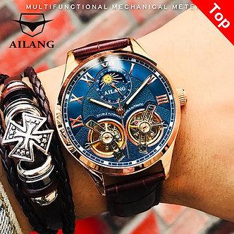 AILANG Original Design Watch Men's Double Flywheel Automatic Mechanical Watch