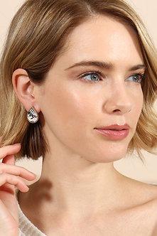 27040 - Teardrop Shape Snake Print Earrings