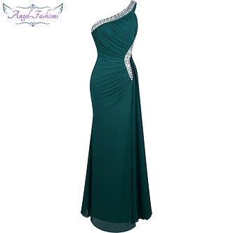 Angel-Fashions Beading One Shoulder Silt Pleat Draped Evening Dress Vestido