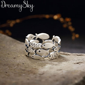 2019 Bijoux Silver Color Fish Rings for Women Christmas Gifts Adjustable Open
