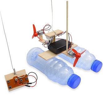 Assembled Wind Turbine Model Boat Wooden Remote Control Boat DIY Science