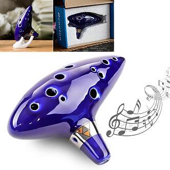 12 Hole Blue Ocarina Beautiful Durable Ceramic Alto Mid-Tone ToneC Flute