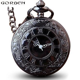 Antique Steampunk Charm Black Quartz Necklace Pocket Watch Women Wen Hollow