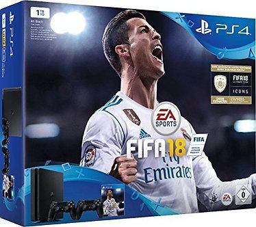 PlayStation 4 - Konsole (1TB, schwarz, slim) inkl. FIFA 18 + 2 DualShock Control