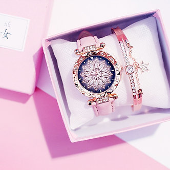 2020 Women Watches Bracelet Set Starry Sky Ladies Bracelet Watch Casual Leather