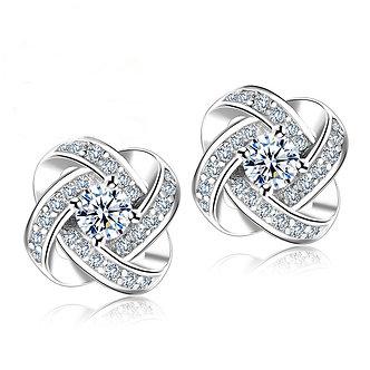 925 Sterling Silver Crystal Stud Earrings for Women Fashion Luxury Cubic
