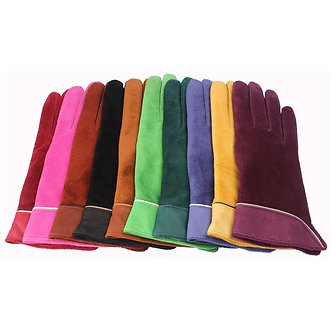 2020 Brand New Fashion Women Genuine Suede Leather Fleece Gloves Winter Women