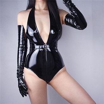 2020 New Patent Leather Extra Long Gloves 70cm Long Emulation Leather PU Bright