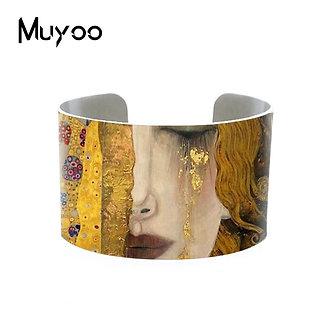 2019 New Fashion Gustav Klimt Paintings Golden Tears Aluminum Cuff Mother