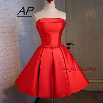 ANGELSBRIDEP Strapless Red Mini/Short Homecoming Dress Sexy Strapless Sash Satin