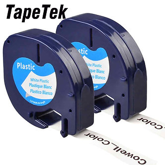 2 Compatible Dymo LetraTag 91201 Black on White (12mm X 4m) Plastic Label Tapes