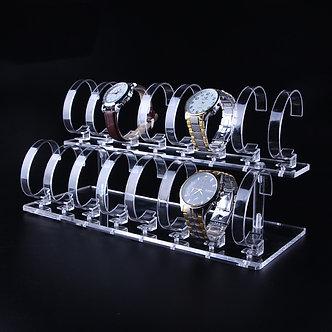 Acrylic 2-Tier Jewelry Wrist Watch Display Racks Holder Show Case Stand