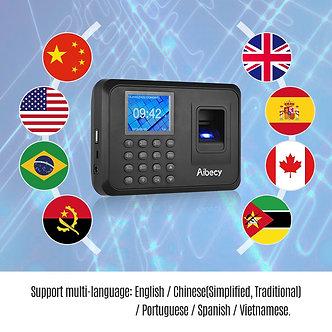 Aibecy Biometric Fingerprint Password Attendance Machine Multi-Language With 2.4