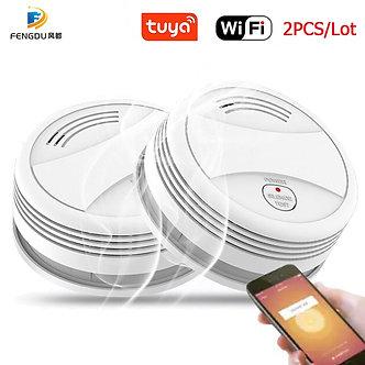 2PCS Fire Wifi Smoke Detector Wireless Smoke Detector Tuya APP Control Home