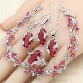 925 Silver Jewelry Sets for Women Red Ruby Necklace Pendant Earrings Ring