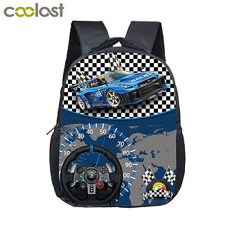 12 Inch Kids Racing Car Small School Bags Child Cartoon Backpacks Boys Girls