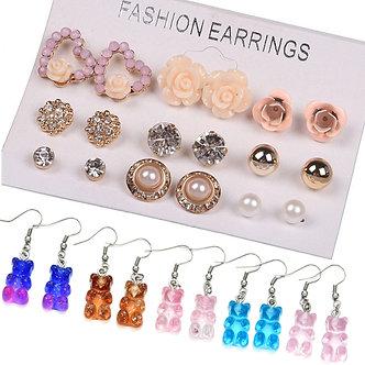 12/ 9 Pairs/Set Women's Pearl Flower Crystal Studs Earrings Girls Elegant Rose