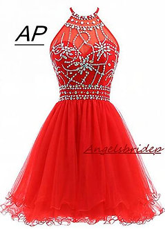ANGELSBRIDEP Halter Short Homecoming Dresses 2021 Sexy Backless Beading Tulle