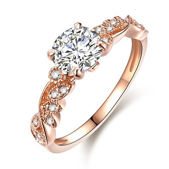 2018 New Rose Gold Color Rings Fashion Retro Flower Cubic Zirconia Engagement