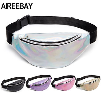 AIREEBAY 2020 New Holographic Waist Bag for Women Gold Black Laser Fanny