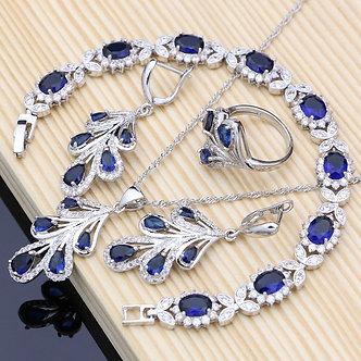 925 Sterling SilverJewelry Set Blue Zircon White Crystal Costume for Women
