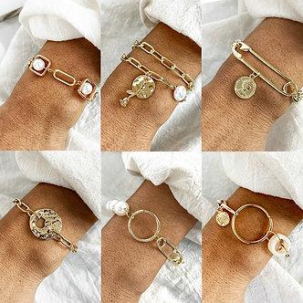 17KM Vintage Pearl Bracelet for Women Korean Female Flower Pearl Bangles