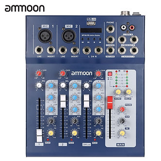 Ammoon  F4-Usb 3 Channel Digital Mic Line Audio Mixing Mixer Console With 48V
