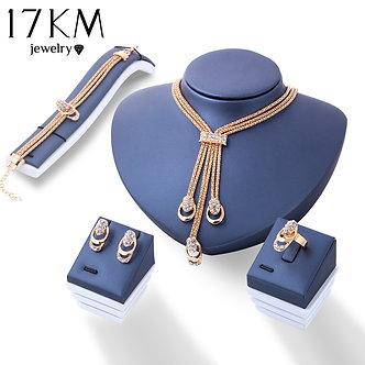17KM Rose Gold Color Crystal Necklace Earring Bracelet Ring Set Rhinestone New