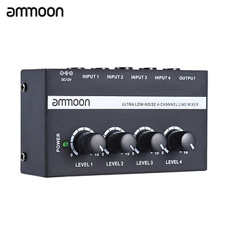 Ammoon MX400 4 Channels Mixer Ultra-Compact Low Noise 4 Channels Line Mono