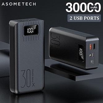 2USB LED Power Bank 30000mAh Portable Charging Poverbank Pack Charge External