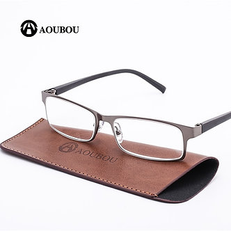 AOUBOU Brand High-End Business Reading Glasses Men Stainless  +1.75+1.25 Degree