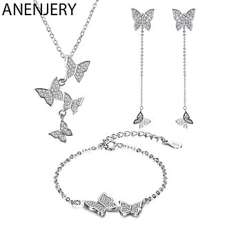 ANENJERY 925 Sterling Silver Exquisite Micro Zircon Butterfly Tassel Necklace