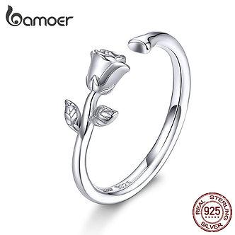 Bamoer Thorns and Rose Open Adjustable Finger Rings for Women 3D Flower Ring