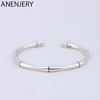 ANENJERY 925 Sterling Silver Vintage Fashion Bangles for Men Women Bamboo Cuff