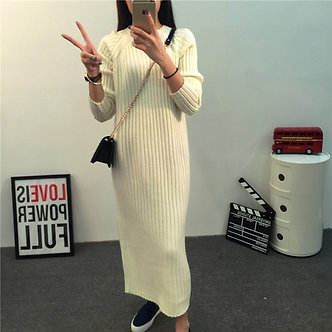 Autumn Winter Thicken Warm Knitted Maternity Sweaters Long Dress Clothes