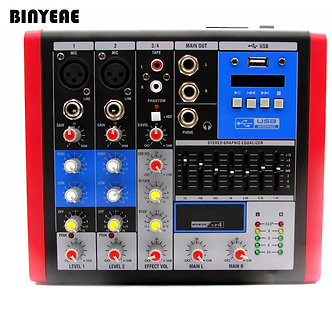 4 Ch Mini-Mixer Audio With 7 Band EQ Mixing Console, 48V Phantom Power