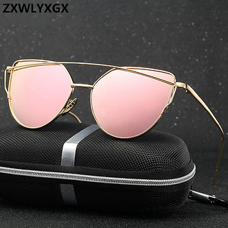 17 Colors Metal Sunglasses Women Luxury Cat Eye Brand Design Mirror Rose Gold