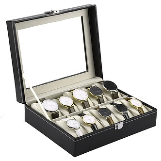 10 Grids Wristwatch Box Holder PU Leather Watch Box Watches Display Case
