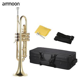 Ammoon Trumpet Bb B Flat Trumpet Brass Gold-Painted Exquisite Durable Musical